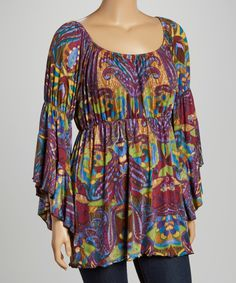 Eggplant & Green Paisley Scoop Neck Top by GLAM #zulily $24.99