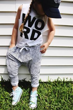 girl summer style modern kid monochrome joggers