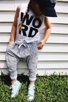 girl summer style modern kid monochrome joggers