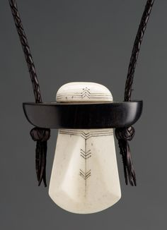 Imre Molnár leather works from Hungary - Leather,  bone and ebony necklace