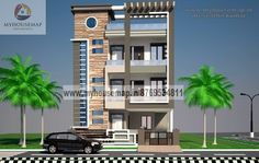 Simple Indian Home Elevation Design Photo Gallery 518 Best House Elevation Indian Compact Images House Elevation Elevation Designs Front Elevation Design House Map Building Home Front Design Images Be. 3 Storey House Design, House Front Design, Building Elevation, House Elevation, Elevation Plan, Building Front, Building Design, Indian House Plans, Front Elevation Designs