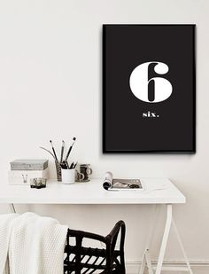 ::SIX Number Typography - Art Print Sign - Instant Digital Download::  *** Number Six Typography Print Sign - Home Decor Love Poster Nordic