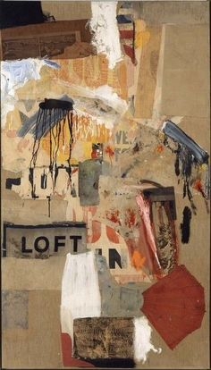 Robert Rauschenberg, Double Feature, 1959. Combine: oil, paper, printed paper, printed reproductions, and fabric on canvas.