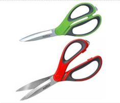 Zyliss Kitchen Shears. Choose Red or Green (Green Shown in Product Description) - Red - Red by Zyliss. $12.40. Blades can be resharpened. Ergonomic handles are outfitted with soft touch grips. Heavy-duty stainless steel blades. Easily cut through foods, flowers or packaging materials. Box cutter in handle breaks tape on sealed boxes to keep sticky adhesive away from blades. Use the all purpose Zyliss Kitchen Shears to cut throughall types of kitchen and household items,...