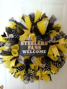 Pittsburgh Steelers Curly Deco Mesh Sports Wreath by DecoMeshCrazy, $42.00