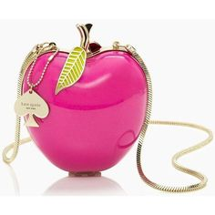kate spade new york Far From The Tree Resin Apple Bag (£140) ❤ liked on Polyvore featuring bags, handbags, kate spade, purses, pink, apple red, kate spade handbag, kate spade purses, red hand bags and woven purse