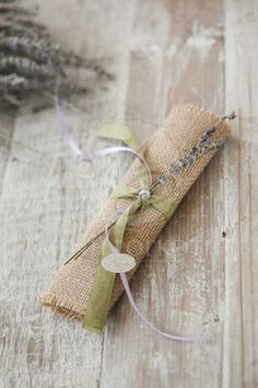 Handmade burlap wedding favor - bomboniere with levander