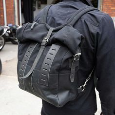 Sandqvist / Wrenchmonkees Backpack - Black | Motorcycle Accessories | FREE UK delivery - The Cafe Racer