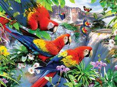 Tropical Birds, a Ravensburger large-format 300 piece puzzle