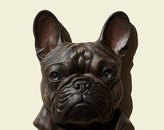 Hand painted  brindle French Bulldog dog Bouledogue français wall sculpture statue fine art relief