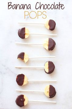 Turn an ordinary banana into a fun and healthy snack with these Banana Chocolate Pops! Easy to make and great for picky eaters!