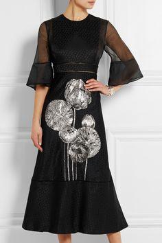 Alexander McQueen|Silk organza-paneled floral-jacquard midi dress|NET-A-PORTER.COM