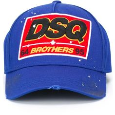 Dsquared2 Brothers baseball cap ($210) ❤ liked on Polyvore featuring men's fashion, men's accessories, men's hats and blue