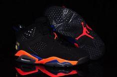 51bc2a7ab0e Nike Air Jordan Vi 6 Knicks Mens Shoes Hot Black Orange Hong Kong