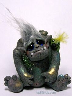 "OOAK Stone Golem Troll with Goblin Bird ""Humble and Tweets"" by Amber Matthies                            OOAK Stone Golem Troll with Goblin Bird ""Humble and Tweets"" by CDHM Artisan Amber Matthies of The Trollflings Trolls, www.cdhm.org/user/trollgirl"