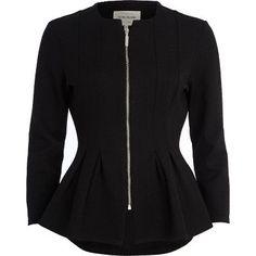 Black textured jersey peplum jacket
