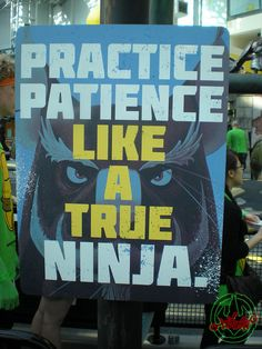 """Ninja turtles """"practice patience like a true ninja"""" definitely want to make something like this for landens room Funny Pictures For Kids, Funny Kids, Funny Photos, Boys Ninja Turtle Room, Teenage Mutant Ninja Turtles, Justin Bieber Jokes, Indian Funny, Tmnt 2012, Funny Cat Videos"""