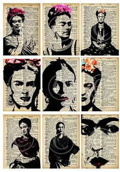 ATCs de Frida Kahlo... A4 digital descargar collage por Lilysart1