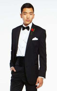 Wilke-Rodriguez Two-Button Black Satin Edge Notch Lapel