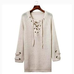 Lace Up Long Sweater