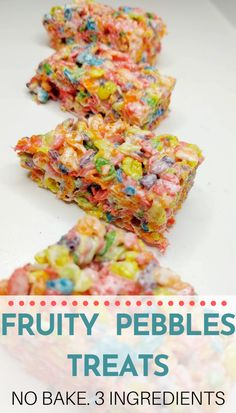Give your rice krispie treats a delicious new spin by making them with fruity pebbles. This easy no back recipe only has three ingredients and makes a perfect cereal bar to satisfy your snack cravings. Fruity Pebbles Treats, Fruity Pebbles Cereal, Rice Crispy Treats, Krispie Treats, Rice Krispies, Easy To Make Desserts, Dog Food Recipes, Yummy Food, Snacks