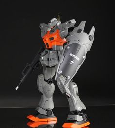 Gundam - Orange accent and grey Gundam Toys, Gundam Art, Gunpla Custom, Custom Gundam, Le Manoosh, Mecha Anime, Futuristic Art, Suit Of Armor, Robot Design