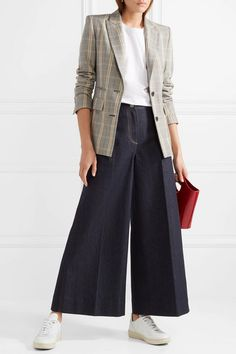 Elizabeth And James Woman Ace Cropped High-rise Wide-leg Jeans Dark Denim Wide Leg Trousers, Wide Leg Jeans, Fashion Pants, Fashion Outfits, Women's Fashion, Trendy Outfits, Cool Outfits, White Jeans Outfit, Moda Casual