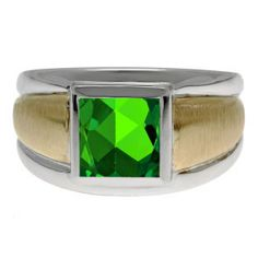 Two Tone 14K Gold Silver Men's Square Emerald Ring Available Exclusively at Gemologica.com