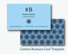 Business Card Template, Calling Cards, Custom Business Cards, Unique Business Card Template, Business Card Design, Blue Business Card #teampinterest