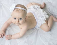Christmas White Diaper Cover & Matching Headband SET-Bloomers-Baby Girl Clothes-Newborn-Infant-Toddler-Photography Prop-Christmas Outfit