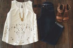 Dark wash denim jeans + white lace detail tank top + leather strap sandals + gold long necklace
