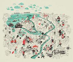 Saint Petersburg map - Irina Stepanova #map #saintpetersburg #russia