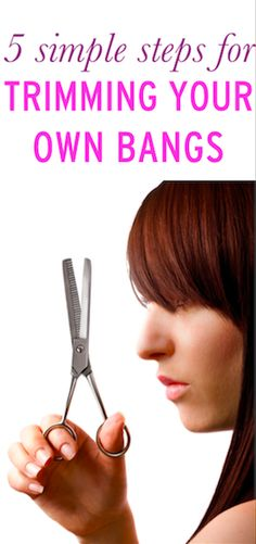 How to save time and money by trimming your own bangs at home Trim Your Own Hair, How To Cut Your Own Hair, Beauty Guide, Beauty Hacks, Beauty Ideas, Beauty Secrets, Trim Bangs, How To Cut Bangs, Great Hair