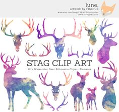 Watercolor Stag Silhouettes. Deer Christmas by FRANCEillustration