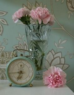 Pale pink and duck egg blue ideal for a French bedroom style