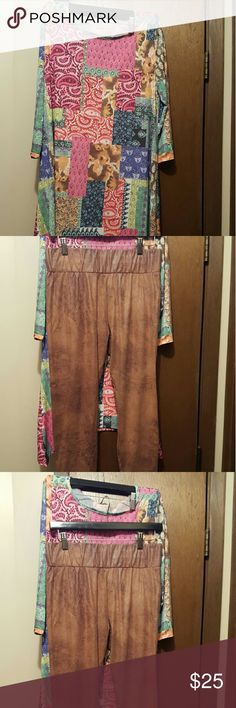 Cute 2 piece alfit size large Very cute 2 piece both new never worn..bottoms washef hang dried. Shirt still has tags.. Tops Blouses