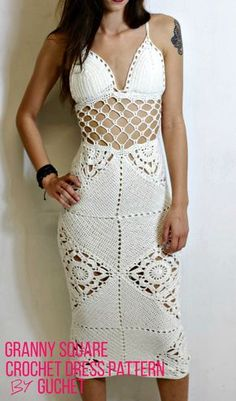 Granny Square Crochet Maxi Dress Pattern