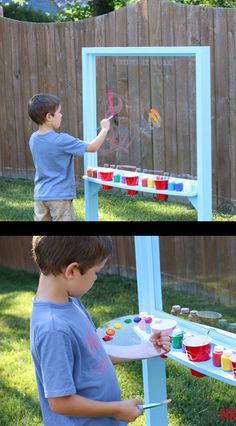 A great project for the kids to get messy outside with their paints. Then just hose everything off for cleanup (the kids too)!