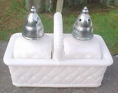 Imperial Milk Glass Salt & Pepper Shaker in a Basket