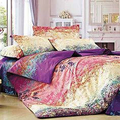 Duvet Cover,4-Piece Modern Style Dreamlike Floral Jacquard – USD $ 99.99