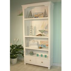 Cottage Style White Painted And Solid Wood Tall Bookcase With 2 Drawers