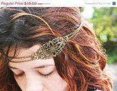 VALENTINES DAY SALE Chain Headpiece Headband  Hair Piece Bohemian Hipster Boho Hippie Bronze Floral Long Centerpiece Bridal Statement Jewelr...