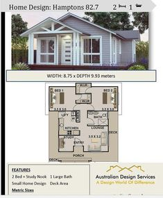 2 bedroom small home design Livinig Area 636 sq feet or 59 9 Hamptons Style 2 Bed Study granny flat Under 1200 sq foot house plans 2 bedroom small home design Livinig Area 636 sq feet or 59 9 Hamptons Style 2 Bed Study granny nbsp hellip Cottage Style House Plans, Cottage Floor Plans, Tiny House Cabin, Cottage Style Homes, Cottage House Plans, House Plans For Sale, Small House Floor Plans, Dream House Plans, Small House Living