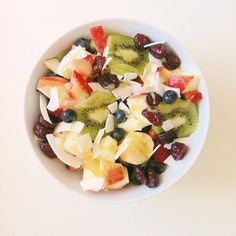 Fruit salad with coconut and honey