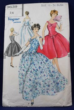 1950's Sewing Pattern for an Evening Dress in Size 16 - Vogue 9630 by TheVintageSewingB on Etsy
