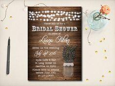 Rustic Bridal Shower Invitation Mason Jar by VintageBellsAndCo