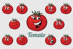 tomato emotions characters collection set. Isolated neutral background. Retro comic book style cartoon pop art vector illustration