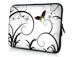 14 inch Brilliant Butterfly Escape White Floral Notebook Laptop Sleeve Bag Carrying Case for Acer ASUS Dell HP Lenovo Sony Toshiba Computer Sleeve, Computer Bags, Laptop Computers, Ipad 4, Neoprene Laptop Sleeve, Laptop Sleeves, Notebook Laptop, Laptop Case, 17 Laptop