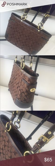 CUTE BROWN COACH TOTE Coach Chocolate Brown Signature Canvas Gallery Tote Bag  100% AUTHENTIC  GOOD CONDITION  BROWN LEATHER TRIM  Original retail $328 + TAX Serial #: E0768-11237 Coach Bags