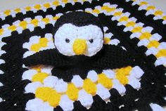 Penguins are vastly overlooked in crochet. Here's a Penguin Lovey crochet pattern by Heather Sonnenberg Crochet Lovey, Love Crochet, Crochet For Kids, Baby Blanket Crochet, Diy Crochet, Crochet Crafts, Crochet Dolls, Yarn Crafts, Crochet Projects